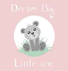 Bear baby girl full background vector
