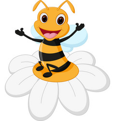 bee cartoon on flower vector image