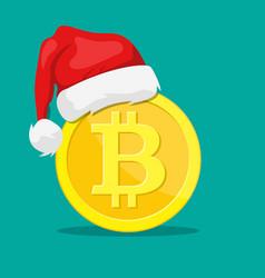 bitcoin and santa claus hat vector image
