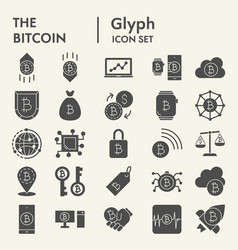 bitcoin glyph icon set crypto symbols collection vector image