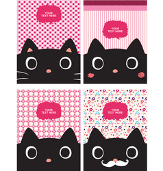 black kitty cartoon with pink background vector image
