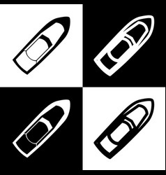 boat sign black and white icons and line vector image