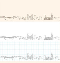 bristol hand drawn profile skyline vector image