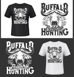 buffalo trophy hunting t-shirt print mockup vector image