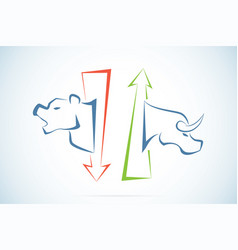 Bull and bear symbols with green and red arrows vector