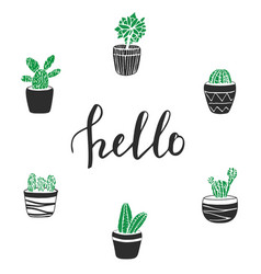 Cactus with lettering hello cute hand drawn vector