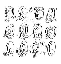 calligraphy lettering script font o set hand vector image