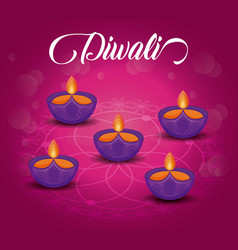 Candles diwali festival isolated icon vector