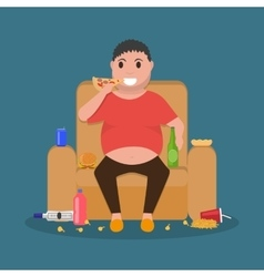 Cartoon fat man sitting on couch eat junk food vector
