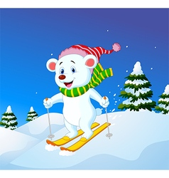 Cartoon polar bear skiing down a mountain slope vector