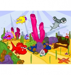 cartoon sea life vector image