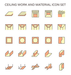Ceiling work and material icon set design vector