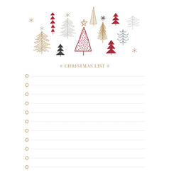 christmas wish list with holly berry leaves and vector image