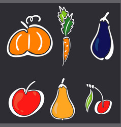 color garden icon set - spikelet pumpkin pear vector image