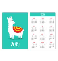 cute alpaca llama simple pocket calendar layout vector image