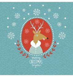 Cute Christmas Deer portrait vector image