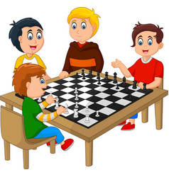 Cute happy kids playing chess vector