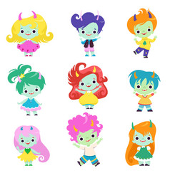 Cute happy smiling horned trolls boys and girls vector
