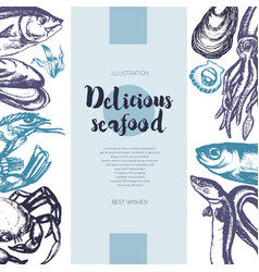 delicious seafood - color drawn vintage banner vector image