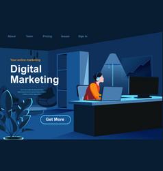 digital marketing isometric landing page vector image