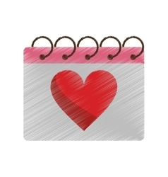 Drawing valentine day calendar love heart date vector