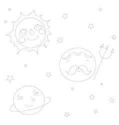 Educational game connect the dots to draw planets vector