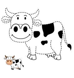 educational game for kids and coloring book-cow vector image