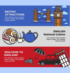 england uk travel tourism landmarks and famous vector image