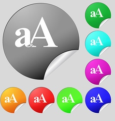 Enlarge font aA icon sign Set of eight multi vector