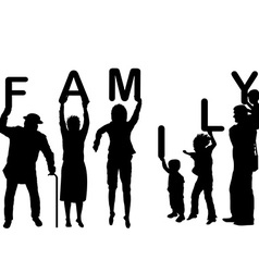 Family concept with children and parents holding vector image