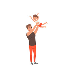 father throwing his son into air loving father vector image