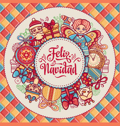 Feliz navidad greeting card in spain background vector