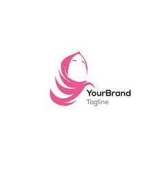 feminine pink hijab logo template vector image