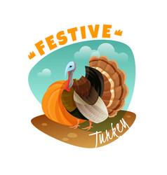 festive turkey emblem vector image