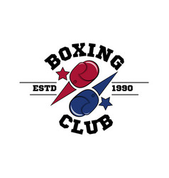 fighting boxing club logo flying blue and red vector image