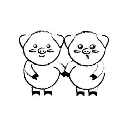 Figure cute couple pig wild animal with face vector