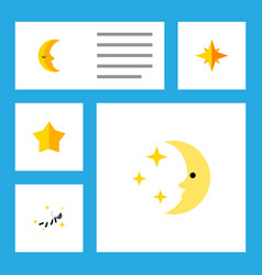 Flat icon night set of night asterisk moon and vector
