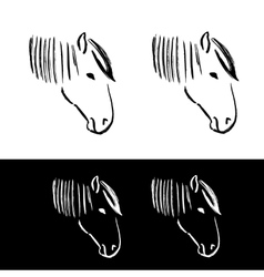 Freehand horse logo More and less detailed vector