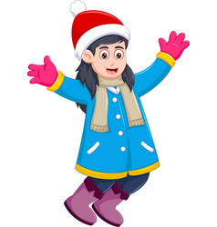 Funny girl cartoon wearing winter clothes vector