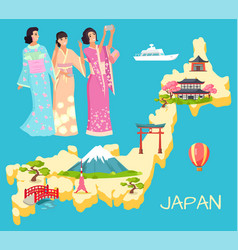 Geisha and japan map with landmark nation vector