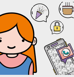Girl with smartphone whatsapp chat message vector