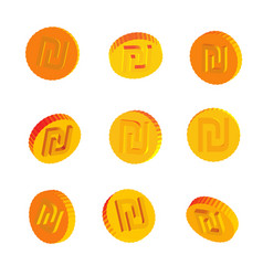 golden coins with shekel symbols vector image