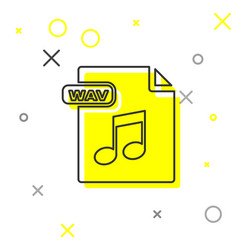 Grey line wav file document download wav button vector