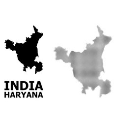 Halftone mosaic and solid map haryana vector