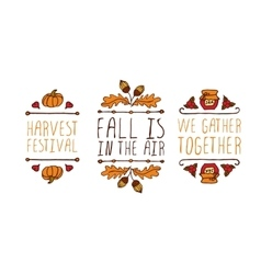 Hand drawn autumn elements with inscription vector