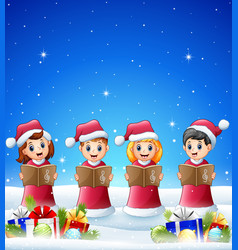 happy kid singing in the winter background with ba vector image