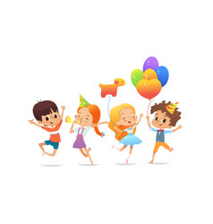 Happy school children with the balloons and vector