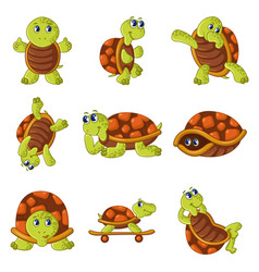 happy turtle icons set cartoon style vector image