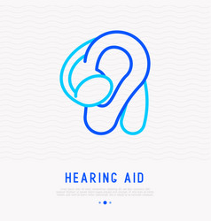 Hearing aid thin line icon vector