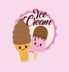 Kawaii ice creams design vector